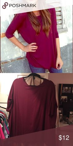 BURGUNDY 3/4 SLEEVE PIKO Good condition, purchased from shop the rage. Francesca's Collections Tops