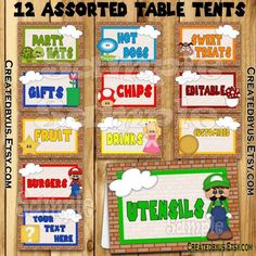 13 best birthday table tent food tent name cards images on