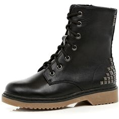 River Island Black Stud Boots ❤ liked on Polyvore