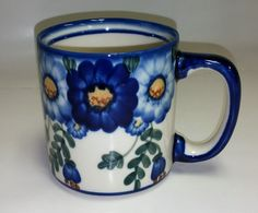 WR14E-MC2 Ring of Flowers - Mug (Straight) (10 oz.) Mugs / Collectible Polish Pottery ~ Handmade in Boleslawiec, Poland. *Oven Safe *Microwave Safe *Dishwasher Safe