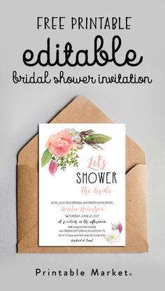Free Bridal Shower Invitation – Editable Let's Shower the Bride Watercolor Flowers Printable – Printable Market