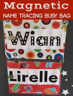 Magnetic Name Trace Busy Bag, great preparation to write names!