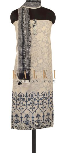 Cream unstitched suit with printed under layer only on Kalki