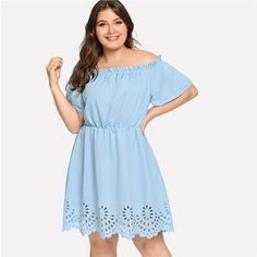82085ab3ad321 Plus Size Laser Cut Scalloped Bardot Dress (L-3XL)