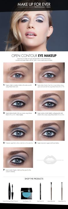 Open Contour Eye Makeup -gives a sculpted effect; deepens and defines the crease and opens the eye. #HowTo courtesy of #Makeupforever #Sephora #makeuptutorial