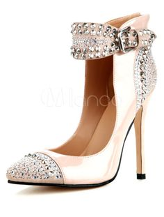 Charming Apricot Pointed Toe Patent Leather Woman's High Heels - Milanoo.com