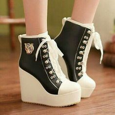 Womens Wedges High Heels Ankle Boots Lace Up High Top Shoes Platform Black Fancy Shoes, Pretty Shoes, Beautiful Shoes, Cute Shoes, Me Too Shoes, Top Shoes, Kawaii Shoes, Block Heel Ankle Boots, Block Heels