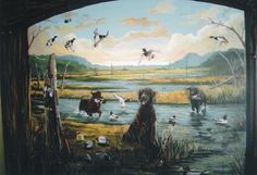 Office Niche, Hunting Ducks.  www.dwcustommurals.com, Dream Walls Murals and faux Finish. By Artist Alfredo Montenegro