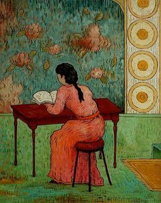 Quiet Read  by a contemporary artist, chinoiserie painter, Mark Briscoe, born in 1964, from England.