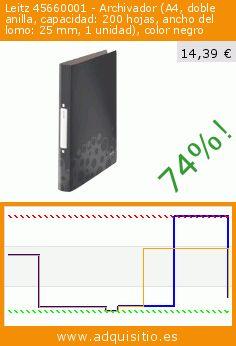 Leitz 45660001 - Archivador (A4, doble anilla, capacidad: 200 hojas, ancho del lomo: 25 mm, 1 unidad), color negro (Productos de oficina). Baja 74%! Precio actual 14,39 €, el precio anterior fue de 55,05 €. http://www.adquisitio.es/leitz/45660001-archivadores-a4