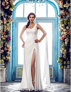 Wedding Dress Sheath Column Sweep Brush Train Chiffon One Shoulder With Beading Appliques and Split Front #00612947