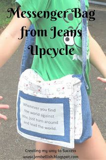 FREE sewing tutorial showing how to make this Upcycled Messenger Bag from jeans. by Creating my way to Success - over 100 more free sewing tutorials on this blog!