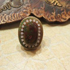 Lovely gemstone ring jasper ring, made of polymer clay decorated with gold metallic powder. DANA BROSH jewelry design, boho chic Wonderful oriental