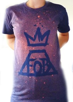 FALL OUT BOY Logo Hand Designed Bleach T-Shirt by SimplyStencilled......size small/ color purple