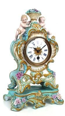 Super Antique Sevres Mantel Clock French Porcelain Cherub 8 Day Mantle Clock