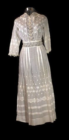 """Antique Dress 1890s to 1915 Edwardian Cotton Lawn or Tea Batiste Cotton Dress Size XX Small The entire dress is embroidered with """"white work or French knotting"""". On the back of the dress, there are bu"""