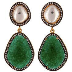 77352738dd1 Carousel Jewels - Crystal Quartz  amp  Green Aventurine Drop Earrings (865  RON) ❤