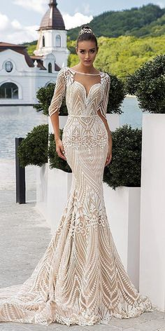 15 Sweet Ivory Wedding Dresses: Must Have For Brides Wedding day is the most happiest day in a life of every bride. To look great and charming you can choose ideal ivory wedding dresses for your celebration. Lace Mermaid Wedding Dress, Princess Wedding Dresses, Colored Wedding Dresses, Mermaid Dresses, Dream Wedding Dresses, Bridal Dresses, Party Dresses, Event Dresses, Unique Wedding Gowns