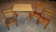 Furniture incl IKEA rarely used smoked glass round table, vintage HW child's desk with three wood chairs, black 2-drawer metal file cab