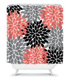 Coral Gray Black SHOWER CURTAIN Flowers Custom MONOGRAM Personalized Bathroom Decor Bath Beach Towel Plush Bath Mat Made in Usa