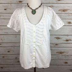 """[J. Crew] Delaney Eyelet Top Boho Prep Beach Chic Soft button front blouse by J. Crew (retail). Eyelet sleeves and front panel. Lined. Looks great with distressed denim or a patterned skirt. Classic and timeless.   🔹Fabric: 100% Cotton  🔹Bust: 18.5"""" 🔹Length: 22.5"""" 🔹Condition: EUC. No flaws.  No Trades! J. Crew Tops Blouses"""