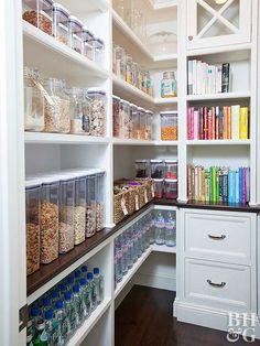 Stock up on large glass or plastic containers. They're perfect for storing grains, cereals, nuts, and other dry goods. #pantryorganization #bulkstorage #kitchenpantryideas #bhg Kitchen Organization Pantry, Pantry Storage, Kitchen Pantry, Kitchen Storage, Home Organization, Organized Kitchen, Food Storage, Organizing Ideas, Storage Ideas