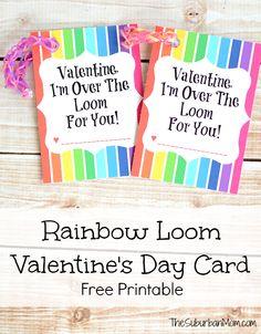 Rainbow Loom Valentine's Day Card Free Printable