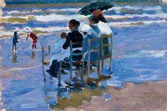 """Cecilio Pla. """"En la playa"""", 1923. Museo de Bellas Artes de Santander"""