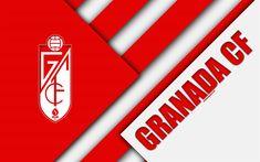 Download wallpapers Granada CF, 4k, material design, Granada FC, Spanish football club, red white abstraction, logo, Granada, Spain, Segunda Division, football