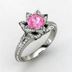Round Pink Sapphire 14K White Gold Ring with Diamond   Pave Lotus Ring   Gemvara
