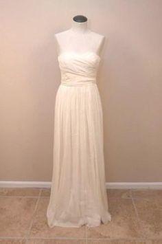 674372ef195e2 JCrew Silk Chiffon Arabelle Gown $575 8 Ivory bride wedding formal long  dress