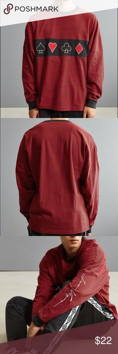 """Urban Outfitters las vegas long sleeve tee New With Tags - striped long sleeved tee with embroidered """"Las Vegas"""" on left sleeve and front embroidered graphic designs. Maroon color. I planned to make it into an oversized crop top but it seemed too nice to cut up so I'm putting it up here instead.   Size S mens. Urban Outfitters Shirts Tees - Long Sleeve"""