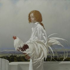 2013 : ARTWORK : NEIL RODGER / RED-HAIRED GIRL WITH YOKOHAMA ROOSTER / OIL ON CANVAS / 100 X 100 cm