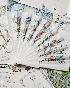 """The Wedding Company Portugal on Instagram: """"Time to get those fans out, because in our part of the world, it's hot, hot, hot 🔥💕🌴 This bespoke design featuring French songbirds and…"""" Fan Out, Wedding Company, Stationery Items, Bespoke Design, Hand Fan, Hot, Portugal, Instagram, Fans"""