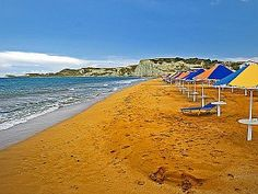 The orange sand of Xi beach, Kefalonia island ~ Greece New Image, Wind Turbine, Sea Shells, Greece, To Go, Island, Beach, Places, Water