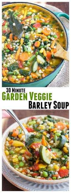 30 Minute Garden Veggie Barley Soup How does soup that's loaded with veggies and only takes 30 minutes to cook from start to finish sound? My family loves this garden veggie barley soup! Vegetarian Soup, Vegan Soups, Vegetarian Recipes, Healthy Recipes, Veggie Recipes, Soup Recipes, Cooking Recipes, Cooking Games, Barley Recipes