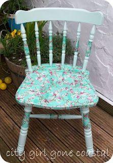 Decoupage a chair using pretty napkins