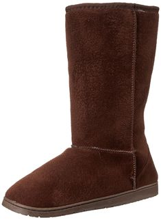 3e6e89be6e90 Womens 13 Inch Microfiber Faux Shearling Vegan Winter Boots - Chocolate -  CM112LJV545
