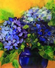 Double Duty Blue Hydrangeas by Texas Flower Artist Nancy Medina, painting by artist Nancy Medina