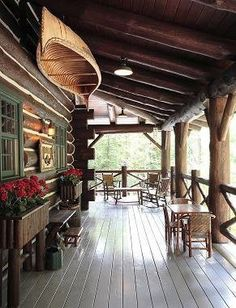 43 Best Log Cabin Homes Modern Design Ideas - Make Your Lodge Lake Cabins, Cabins And Cottages, Mountain Cabins, Style At Home, Cabin Porches, House Porch, Front Porches, House Deck, Boat House