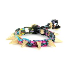 Toucan Vintage Ribbon Bracelet with Gold Pyramid Spikes