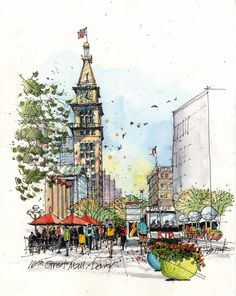 Sketch Book Sketch lively urban spaces pulsing with movement. Get step-by-step guidance for drawing bustling streets, impressive buildings and more. Watercolor Sketch, Watercolor Illustration, Watercolor Paintings, Drawing Sketches, Art Drawings, Watercolor Architecture, Landscape Sketch, Urban Sketchers, Denver