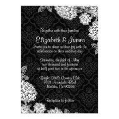 Elegant Black Damask Wedding Invitations