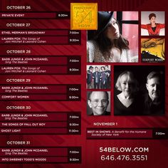 Week of October 26th, 2015 performance schedule. Click to buy tickets.