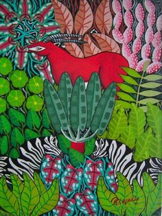 Jungle Scene 16″x12″  This primitive artwork is signed by the Haitian artist Raymond Lafaille. This painting represents a jungle scene. It is an original 16″x12″ oil on canvas and dated 1980.  http://www.finelifeart.com/jungle-scene-16x12/