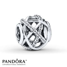 "This openwork ""Galaxy"" charm from the Pandora Holiday 2014 collection features rows of clear cubic zirconias orbiting over and under polished sterling silver strands. Style # 791388CZ."