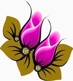 Simple Flower Design, Flower Designs, Floral Design, Rock Flowers, Button Flowers, Pebble Painting, Fabric Painting, Saree Floral, Paradise Flowers