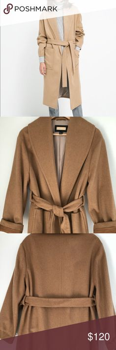 Like new Mango camel wool wraparound belted coat Excellent used condition, only worn 2x camel coat with wide lapels, two side patch pockets, and belt. 59% Wool, 22% Poliester, 17% Polyamide, 2% Cotton. Mango Jackets & Coats