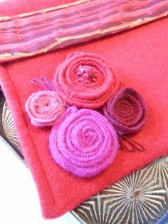 Bright red, pink, plum iPad pouch. New item in my Etsy shop-Wool and Spice.