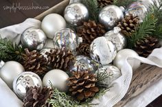 ornaments neutral pinecones greenery textile Yellow Bliss Road: Christmas Home Tour 2012